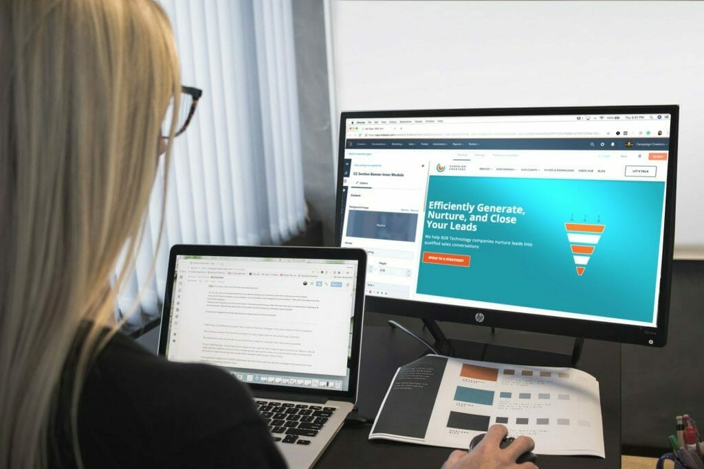 Screen of woman learning things online