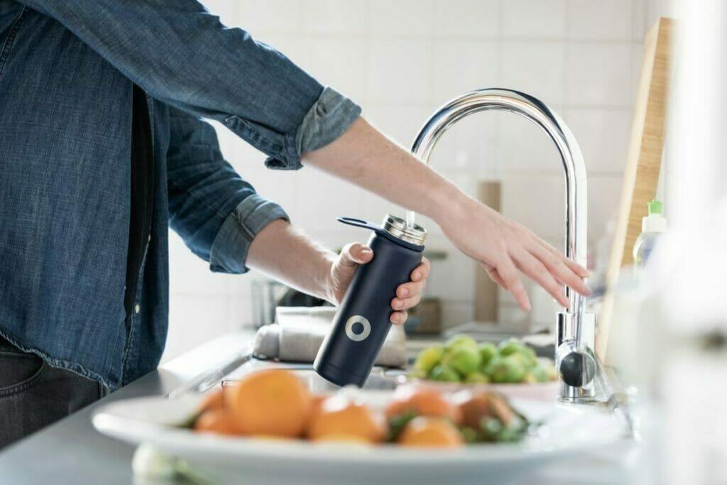refilling a water bottle
